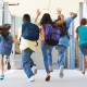 kids running into school