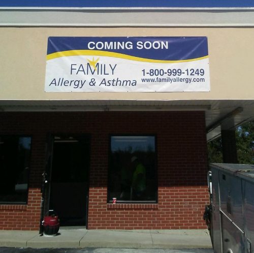 Coming soon allergy office Bardstown Kentucky banner